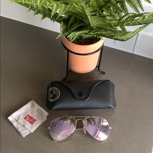Ray Ban Lilac Flash and Silver frame Aviators 💜🌿
